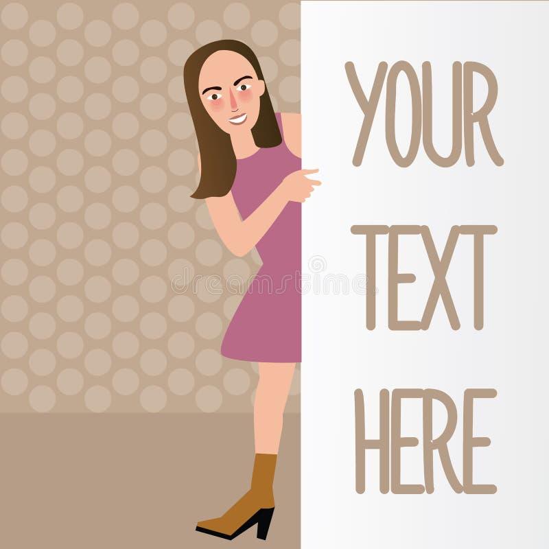 Mujer detrás de llevar a cabo la plantilla en blanco llana blanca su texto aquí stock de ilustración