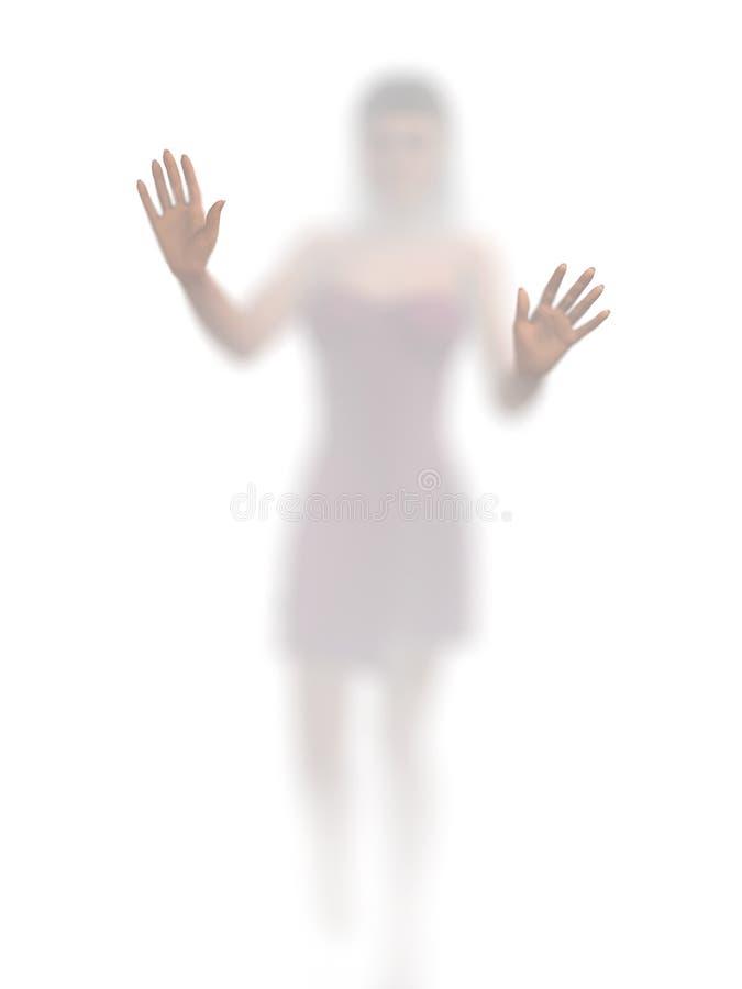 Mujer detrás del vidrio opaco libre illustration