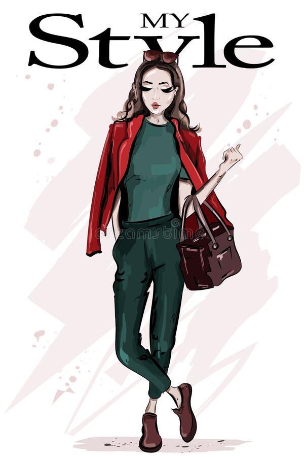 Mujer dibujada mano de la moda con el bolso Mujer joven hermosa elegante con las gafas de sol Presentación del modelo de manera ilustración del vector