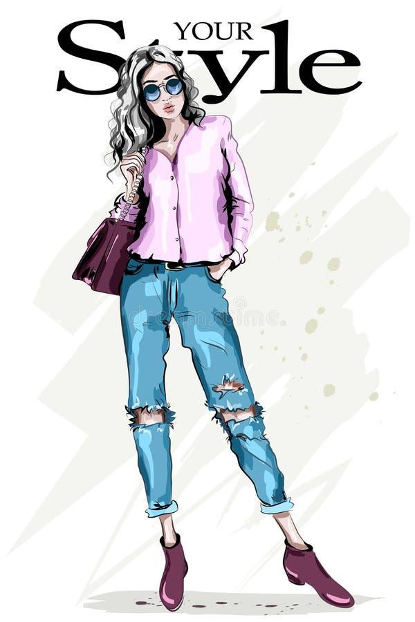 Mujer dibujada mano de la moda en gafas de sol Retrato lleno de la mujer del cuerpo Presentación modelo hermosa elegante Muchacha ilustración del vector
