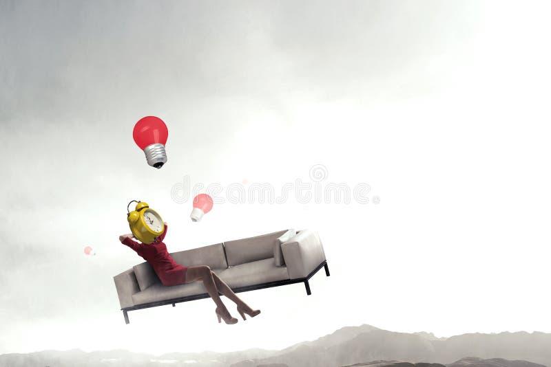 Mujer dirigida reloj Concepto de la eficacia del negocio stock de ilustración