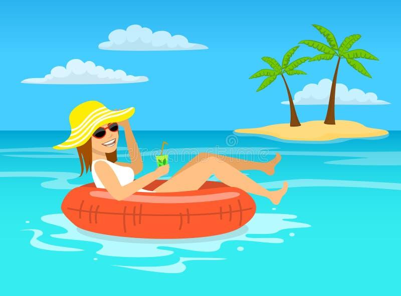 Mujer divertida con la flotación de relajación del cóctel en el anillo interno inflable en agua tropical del océano libre illustration