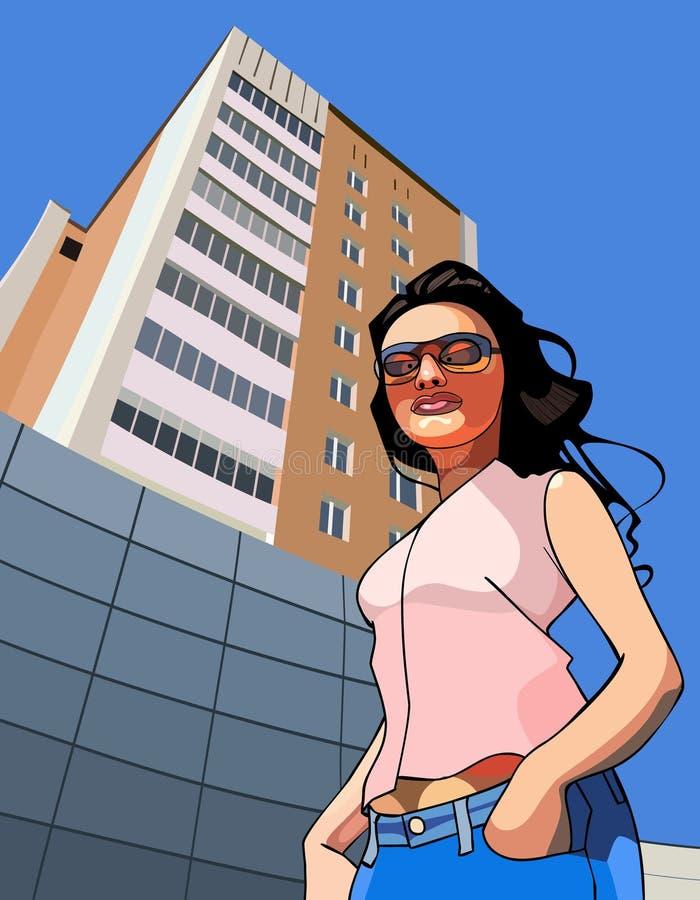 Mujer divertida de la historieta contra el contexto de un edificio alto libre illustration