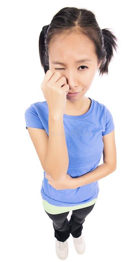 Mujer divertida decepcionada gritadora triste fotografía de archivo libre de regalías