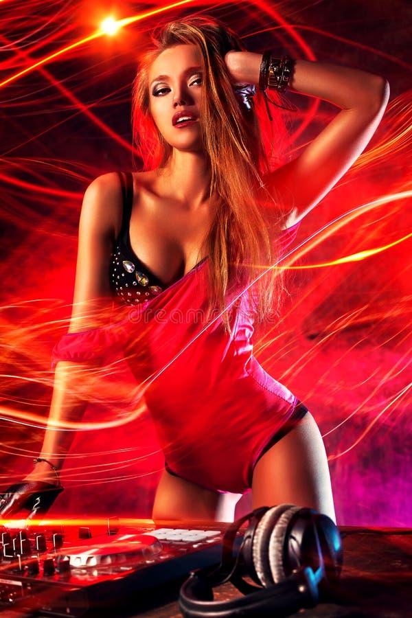 Mujer DJ fotos de archivo