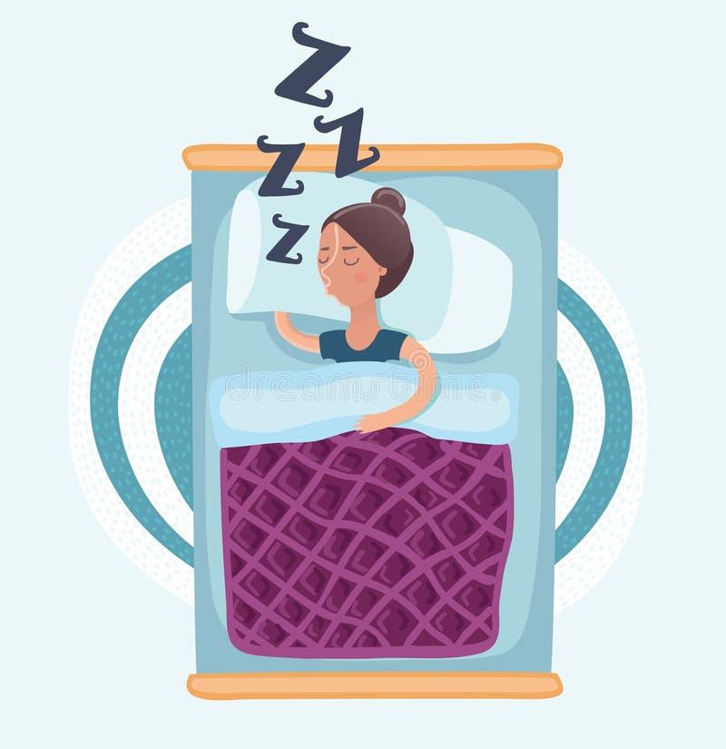 Mujer durmiente aislada ilustración del vector