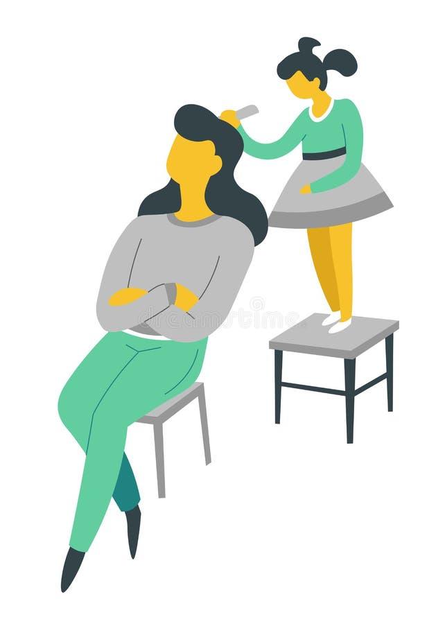 Mujer e hija que cepillan su familia aislada pelo de los caracteres stock de ilustración