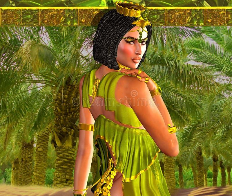 Mujer egipcia de fascinación que presenta delante de las palmeras stock de ilustración