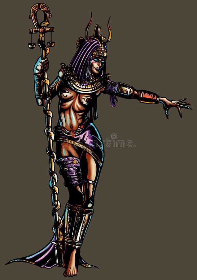 Mujer egipcia de la bruja de la fantasía stock de ilustración