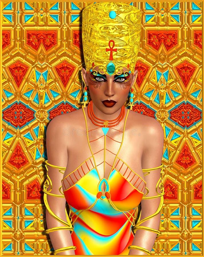 Mujer egipcia de la reina adornada con joyería del oro stock de ilustración