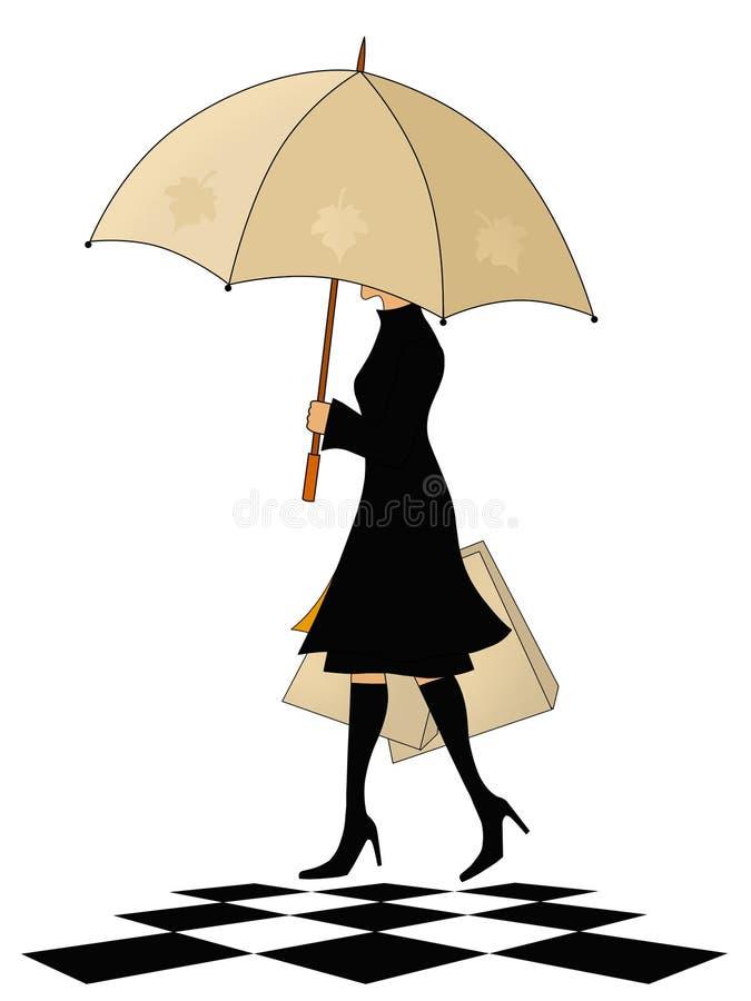 Mujer elegante con el paraguas stock de ilustración