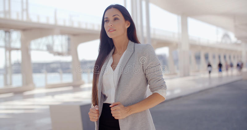 Mujer elegante con el pelo largo que se coloca en un móvil fotos de archivo