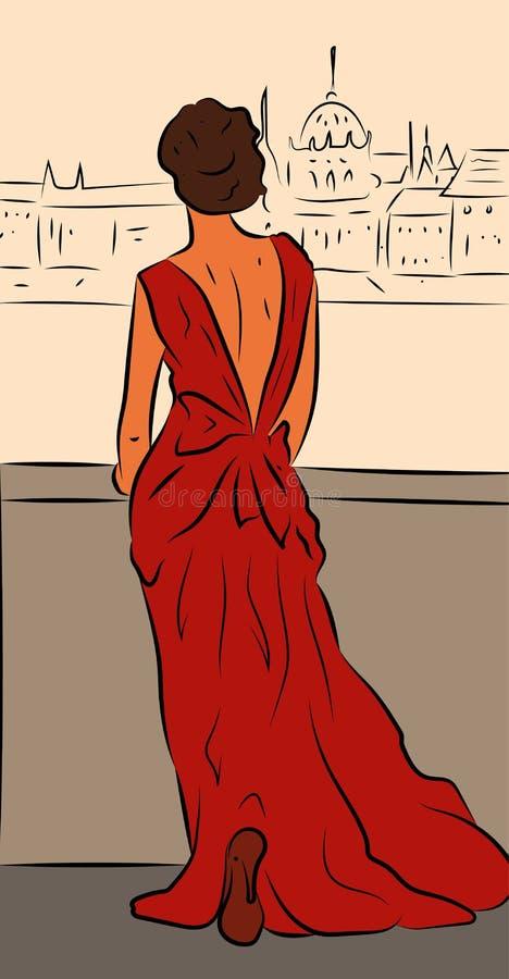 Mujer elegante en el vestido rojo que retrocede en un puente y que mira el panorama de la ciudad libre illustration