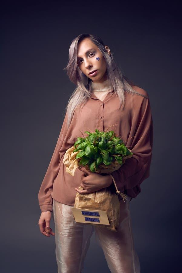 Mujer elegante en estilo del copete del biofuture fotos de archivo