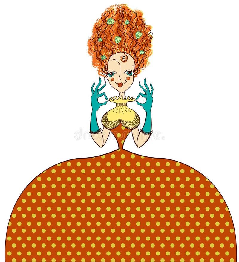 Mujer elegante en vestido retro del vintage de la moda y g libre illustration