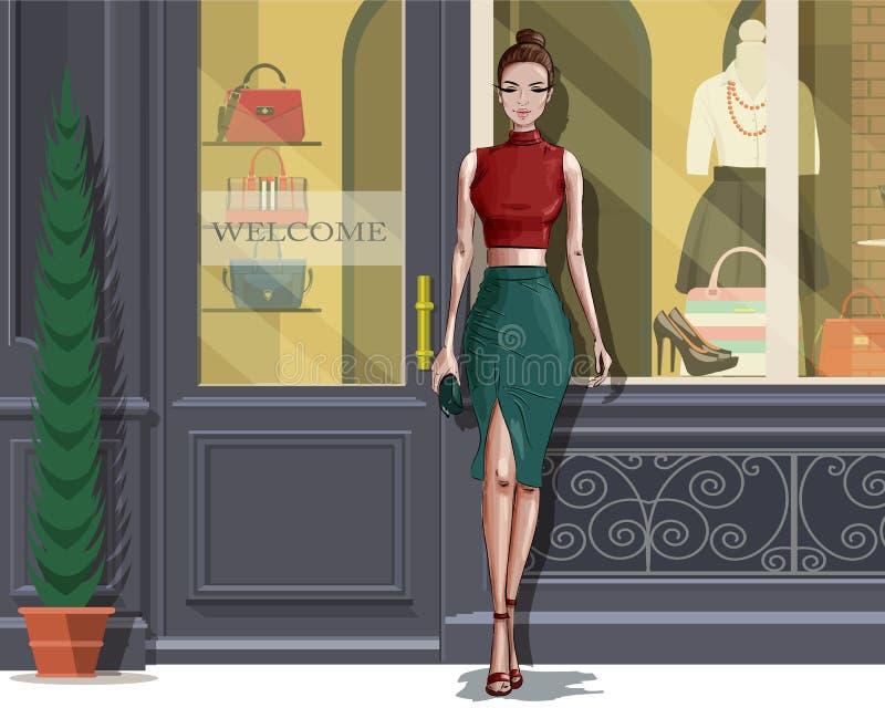 Mujer elegante hermosa con el fondo de la fachada del boutique libre illustration
