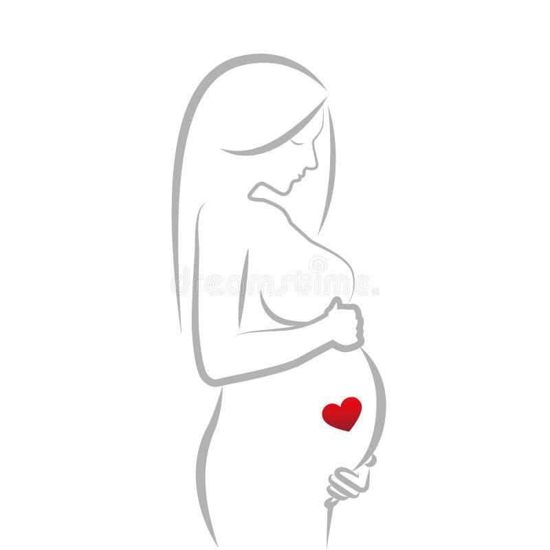 Mujer embarazada con el corazón rojo en su dibujo lineal del vientre stock de ilustración