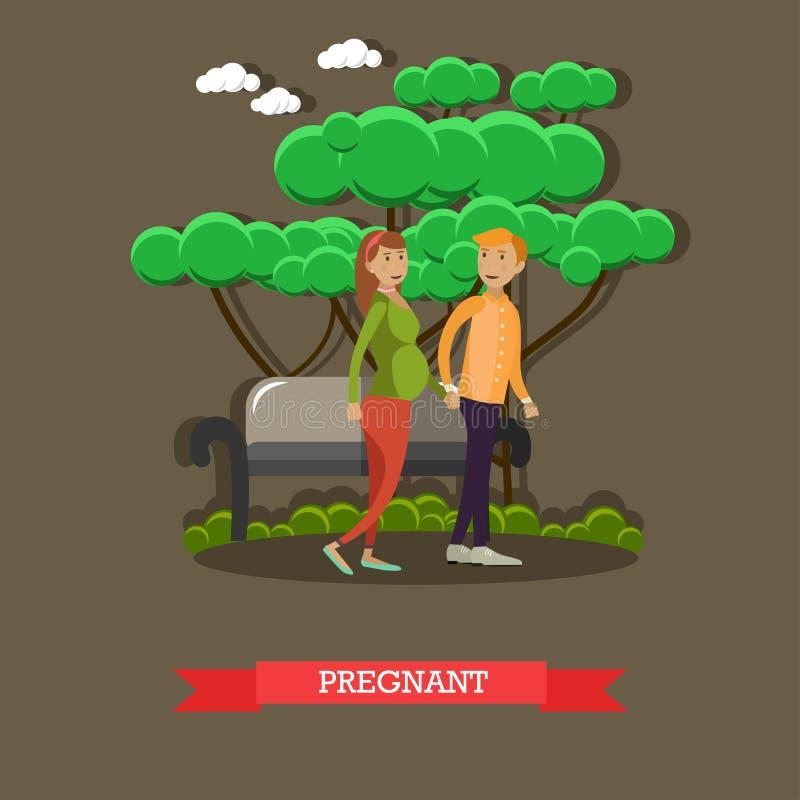 Mujer embarazada con el ejemplo del vector del marido en estilo plano ilustración del vector