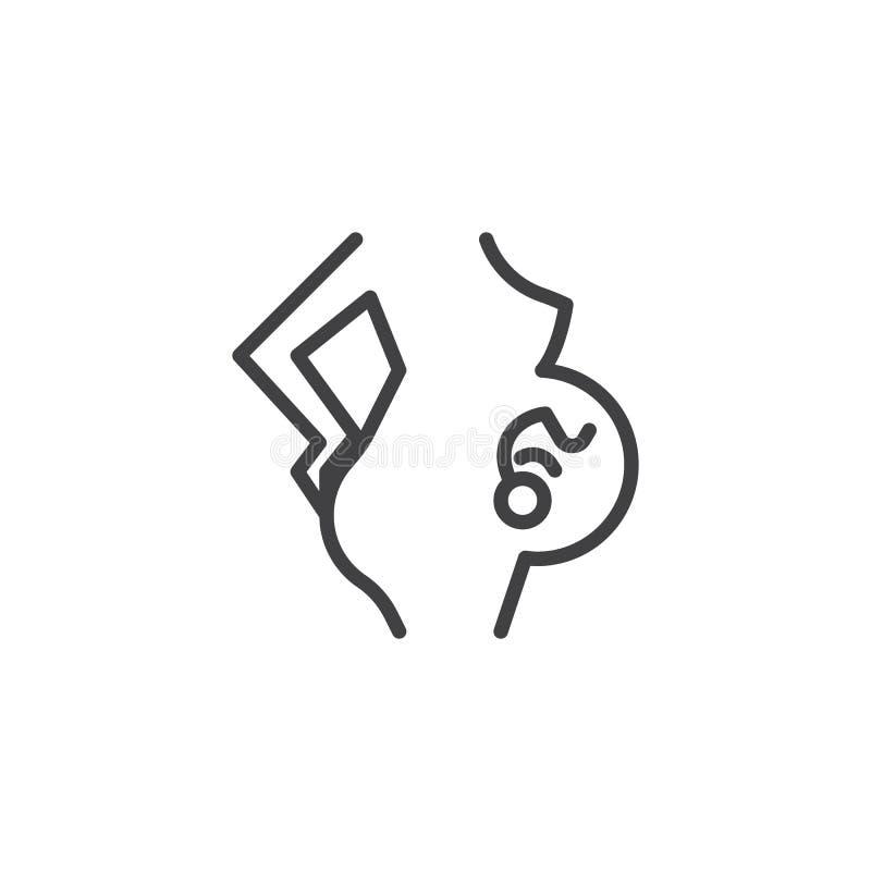 Mujer embarazada con la línea icono del embrión stock de ilustración