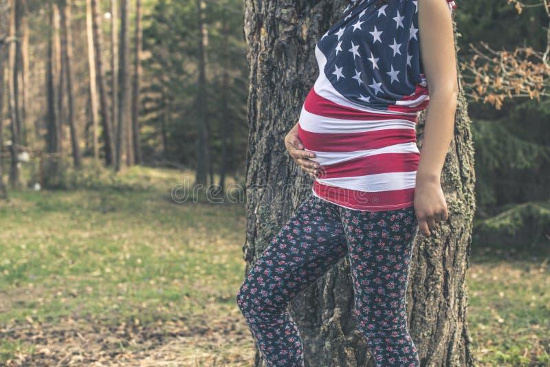 Mujer embarazada en el bosque foto de archivo