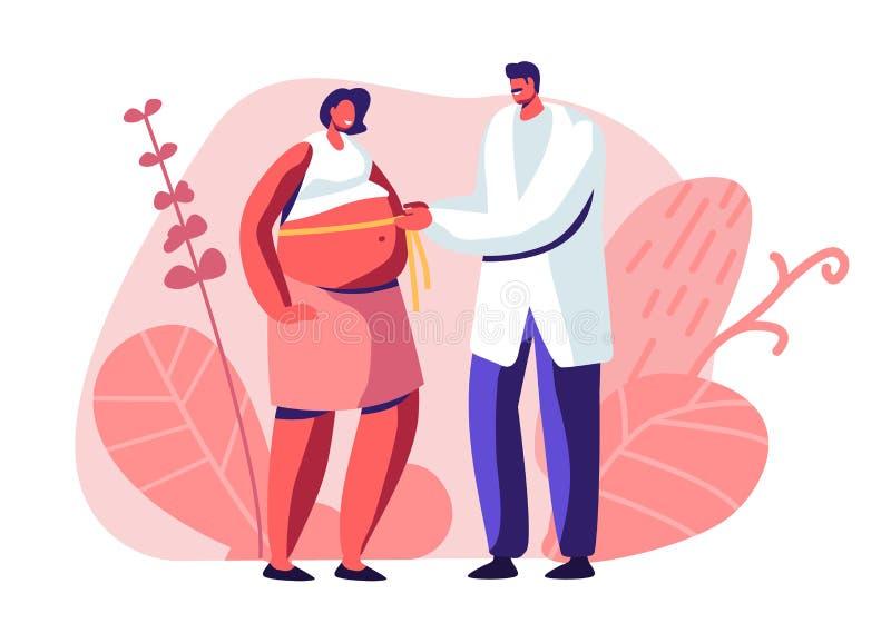 Mujer embarazada en el doctor Appointment en cl?nica El doctor de sexo masculino Character Measuring Belly con la línea de la cin ilustración del vector