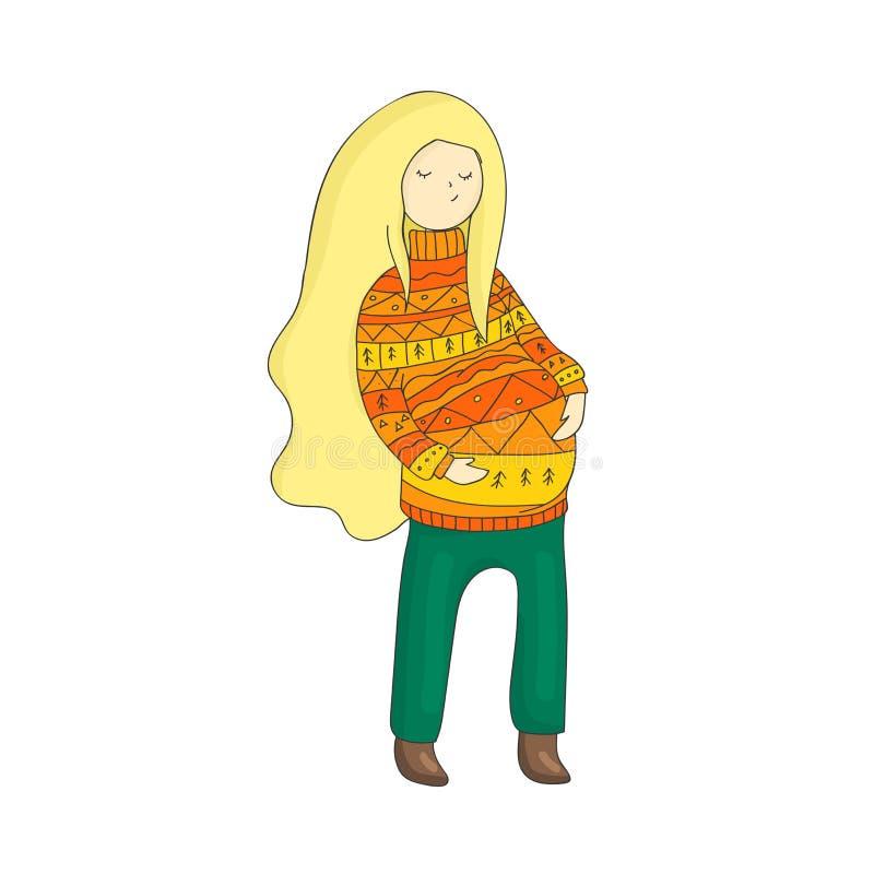 Mujer embarazada en el suéter ornamental aislado en un fondo blanco stock de ilustración