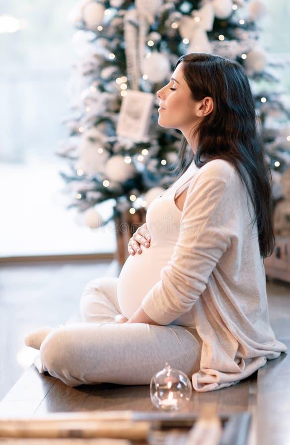 Mujer embarazada en las Navidades foto de archivo libre de regalías