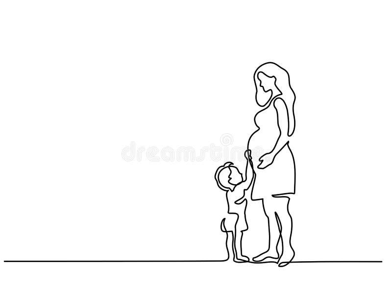 Mujer embarazada feliz con el hijo ilustración del vector
