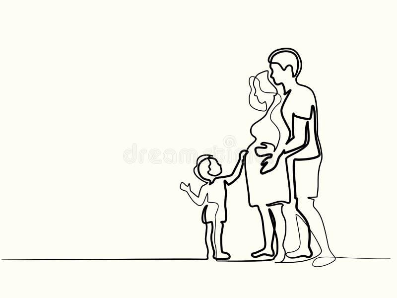 Mujer embarazada feliz con el marido y el hijo stock de ilustración
