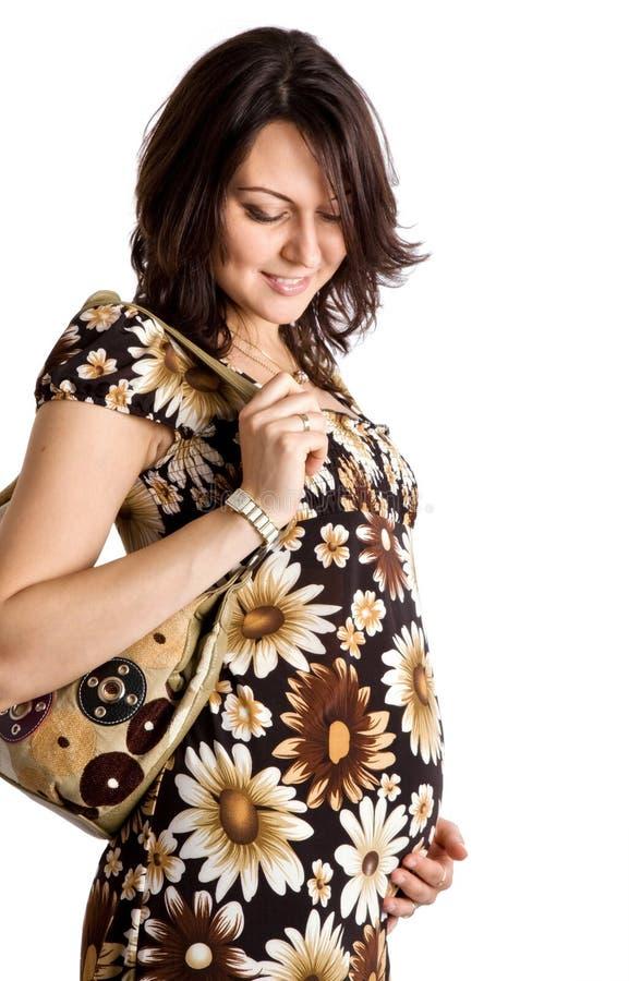mujer embarazada feliz de 21 semanas imagen de archivo libre de regalías