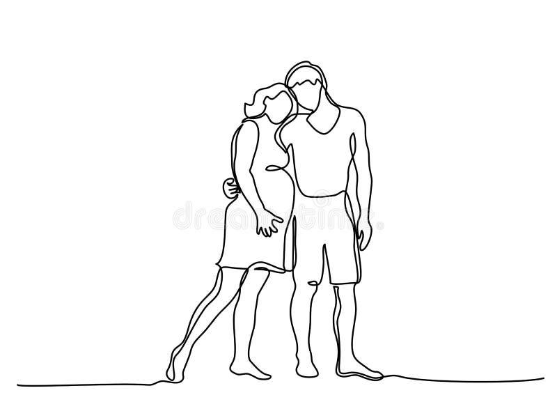 Mujer embarazada feliz que camina con su marido ilustración del vector