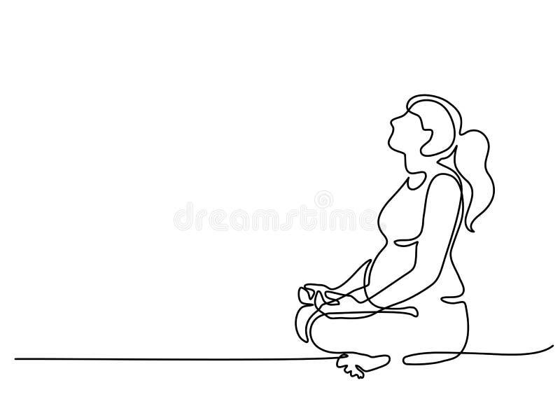 Mujer embarazada feliz que hace ejercicio de la yoga ilustración del vector
