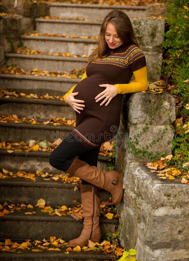 Mujer embarazada hermosa al aire libre en parque el tarde del otoño con colores vibrantes de la naturaleza en fondo imágenes de archivo libres de regalías