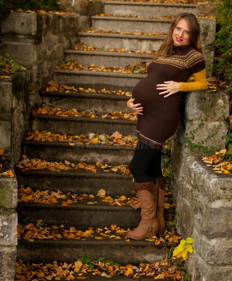 Mujer embarazada hermosa al aire libre en parque en ingenio de la tarde del otoño foto de archivo