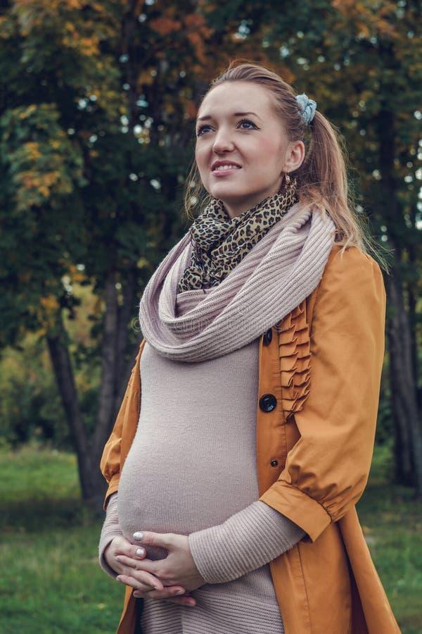 Mujer embarazada hermosa joven que lleva a cabo las manos en el estómago foto de archivo