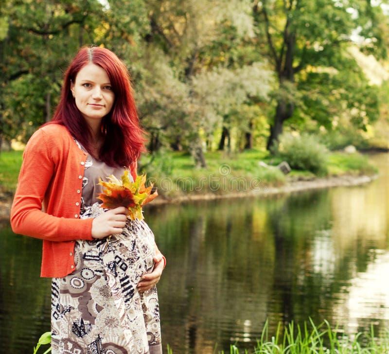 Mujer embarazada hermosa que camina en parque del otoño foto de archivo