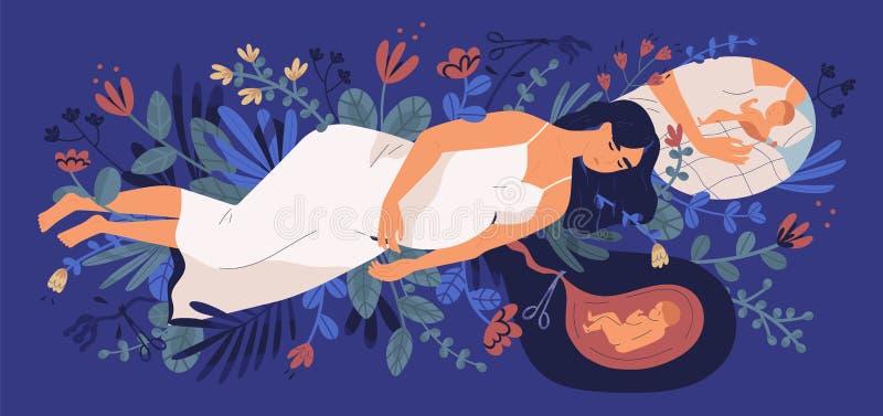 Mujer embarazada joven triste que miente en las flores florecientes, pensando en su bebé nonato y tomando la decisión Concepto de stock de ilustración
