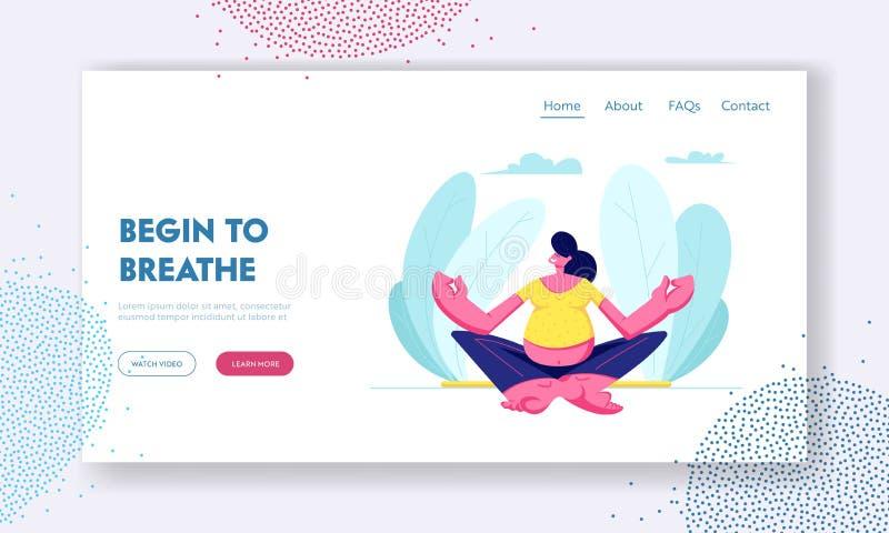 Mujer embarazada que se sienta en Lotus Pose Doing Yoga libre illustration