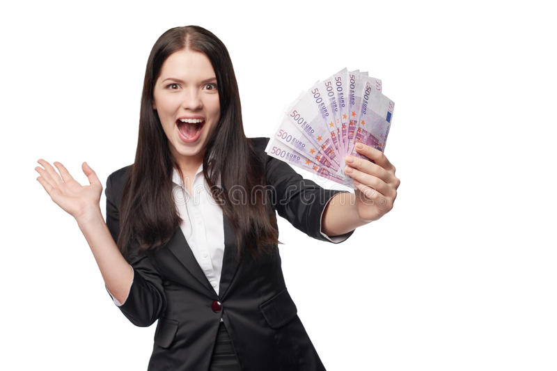 Mujer emocionada con el dinero euro a disposición fotos de archivo libres de regalías