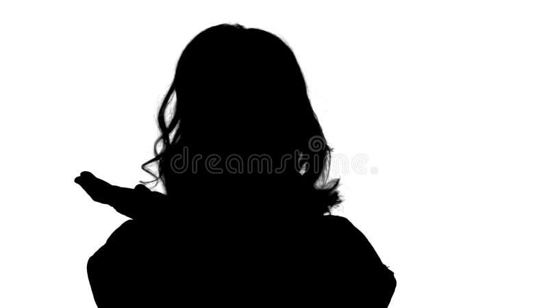 Mujer emocionada de la silueta con una idea ilustración del vector