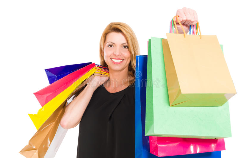 Mujer emocionada de las compras fotos de archivo