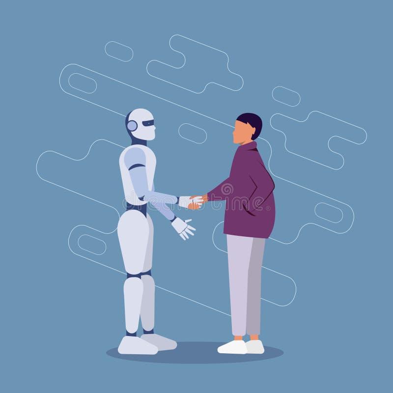 Mujer Empresarial Y Robot Moderno Que Agita Las Manos: Concepto De Cooperación Artificial En Inteligencia stock de ilustración