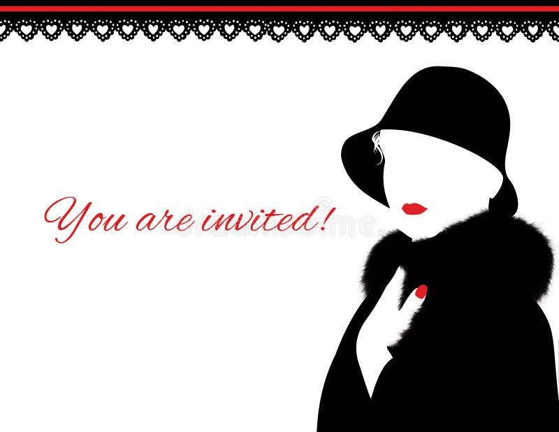 Mujer en abrigo de pieles y la invitación roja de los labios imágenes de archivo libres de regalías