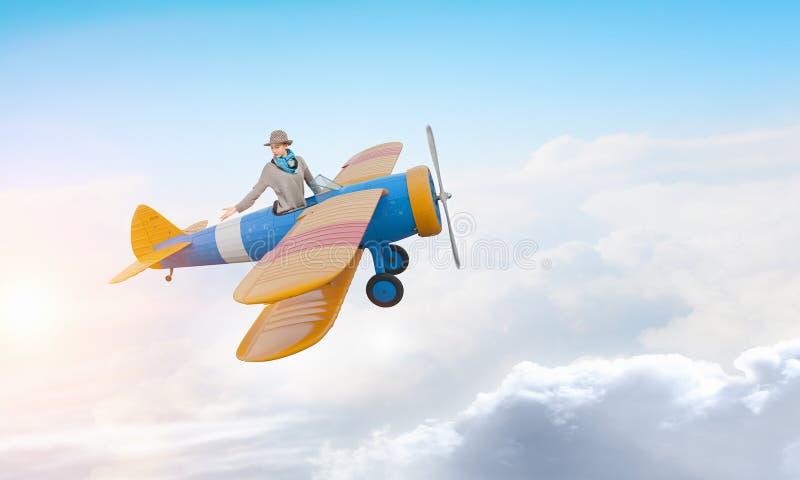 Mujer en aeroplano exhausto imágenes de archivo libres de regalías