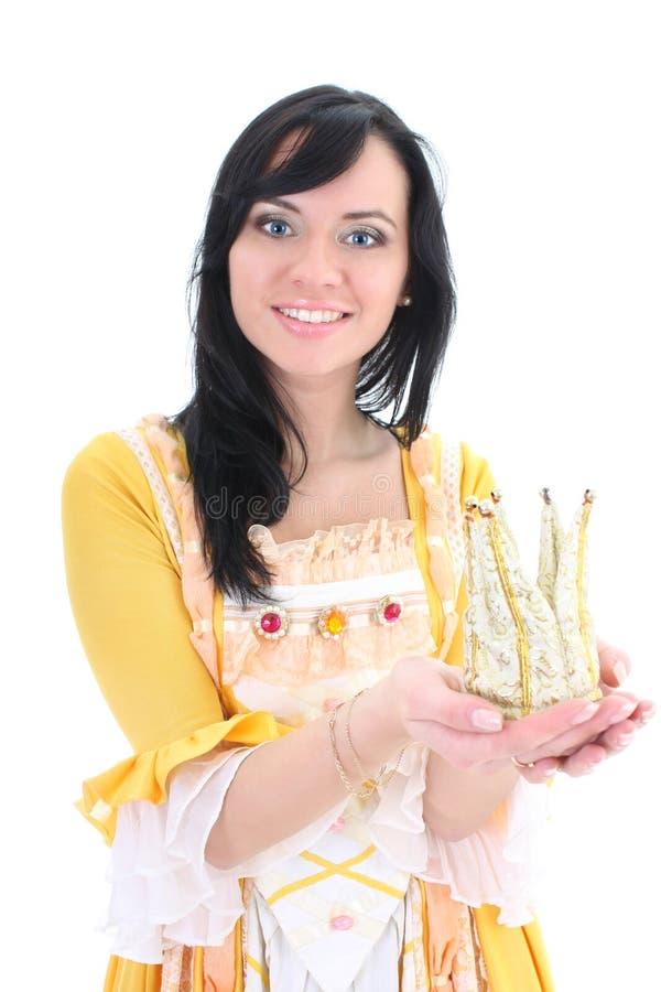 Mujer en alineada medieval amarilla con la corona imágenes de archivo libres de regalías
