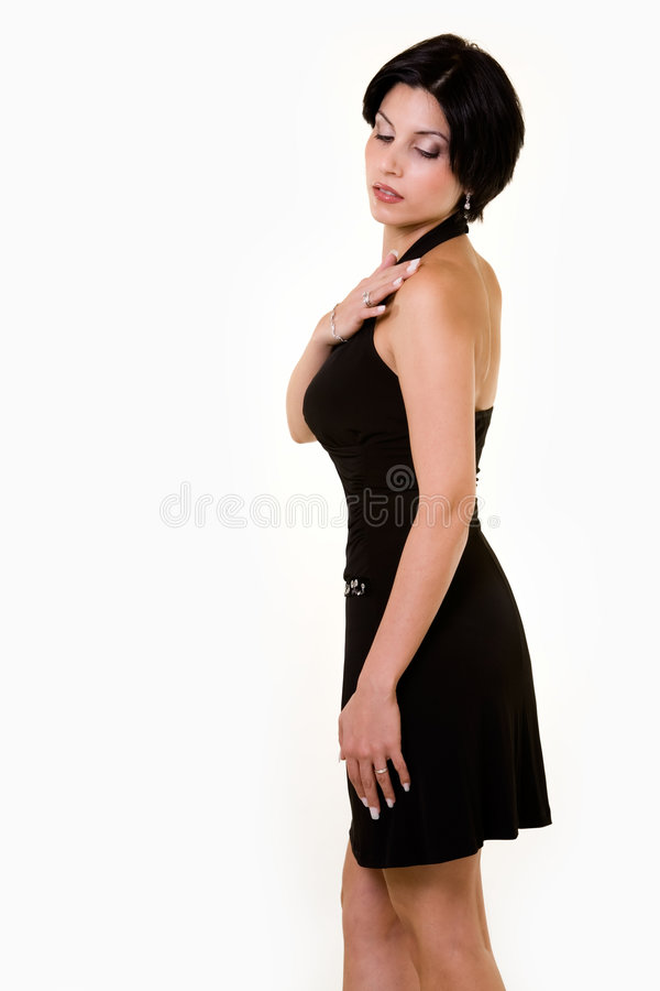 Mujer en alineada negra imagenes de archivo