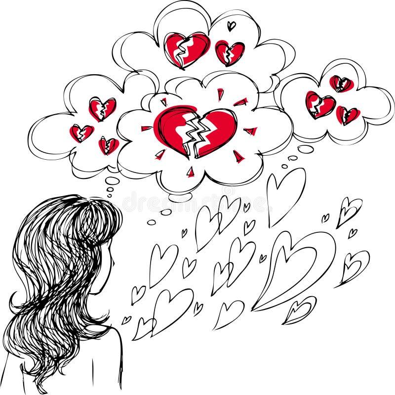 Mujer en amor con los corazones quebrados ilustración del vector
