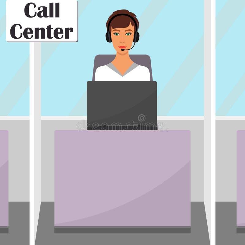 Mujer en auriculares con el micrófono que se sienta en su escritorio con el ordenador portátil Operador de la oficina del centro  ilustración del vector
