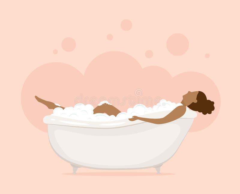 Mujer en bañera en cuarto de baño rosado libre illustration