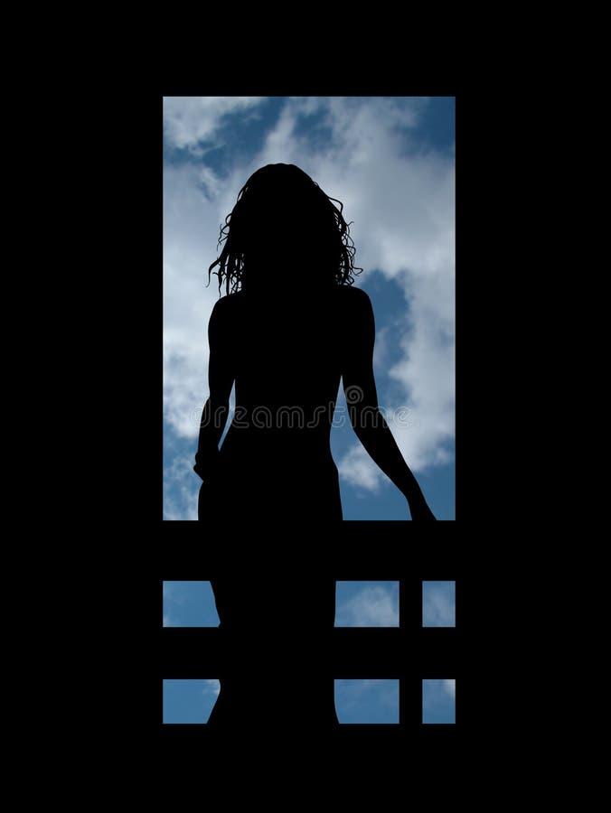 Mujer en balcón ilustración del vector